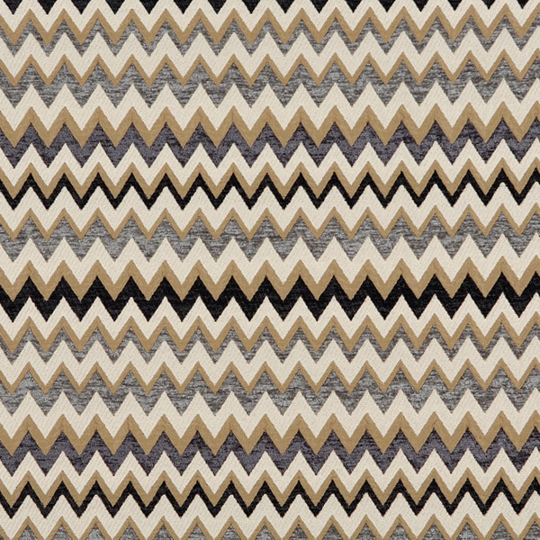 C243 Gold Blue Midnight Off White Woven Chevron Upholstery Fabric ...