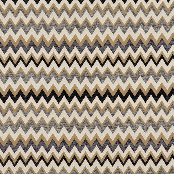 C243 Gold Blue Midnight Off White Woven Chevron Upholstery Fabric