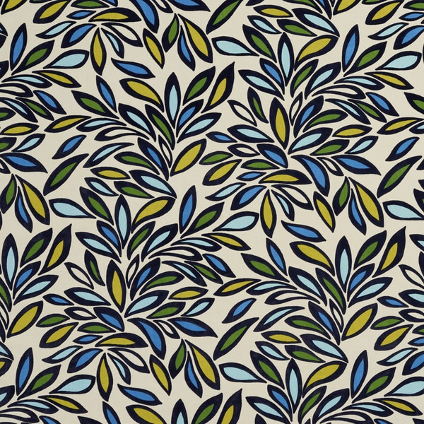 Shop Green Yellow And Blue Leaves Layered Velvet Upholstery Fabric