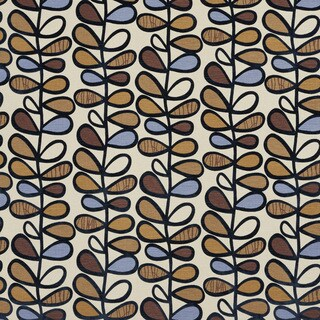 Blue Gold and Brown Vines Layered Velvet Upholstery Fabric
