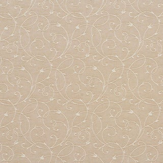 C152 Beige Scroll Trellis Linen Look Upholstery and Drapery Fabric