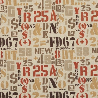 J9400H Various Letter Numbers and Symbols Novelty Upholstery Fabric