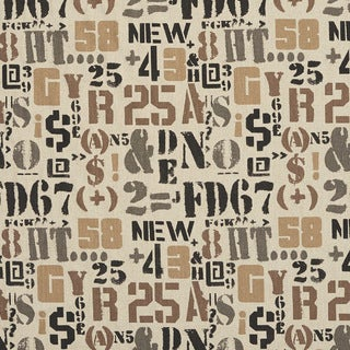 Taupe and Black Letters Numbers and Symbols Woven Upholstery Fabric