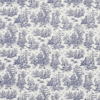 J9800A Navy Toile Pastoral Cotton Printed Upholstery Fabric