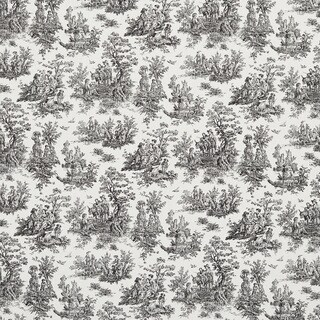 Black and White Toile Pastoral Cotton Printed Upholstery Fabric (2 options available)