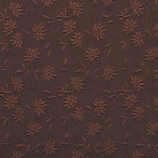 C130 Brown Floral Linen Look Upholstery Window Treatment Fabric