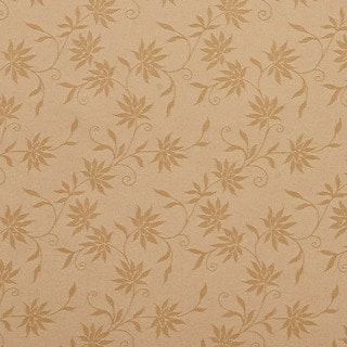 C126 Gold Floral Linen Look Upholstery Window Treatment Fabric