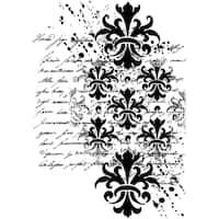 Crafty Individuals Unmounted Rubber Stamp 4.75inX7in Pkg Baroque Splatter Script