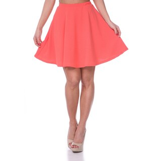 White Mark Women's Solid Color Flared Mini Skirt (Coral)