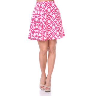White Mark Women's Solid Color Flared Mini Skirt (Pink/ White)