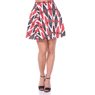 White Mark Women's Solid Color Flared Mini Skirt (Black/ Red)