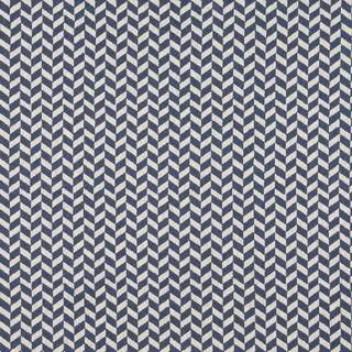 A0004E Blue Off White Herringbone Check Designer Upholstery Fabric