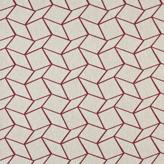 A0007A Red Off White Geometric Boxes Upholstery Fabric