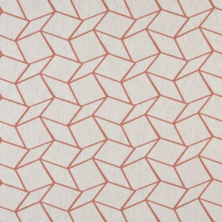 A0007C Persimmon Off White Geometric Boxes Upholstery Fabric
