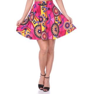 White Mark Women's Solid Color Flared Mini Skirt Pink
