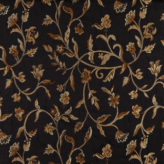 A0011C Midnight Gold Ivory Floral Brocade Upholstery Fabric
