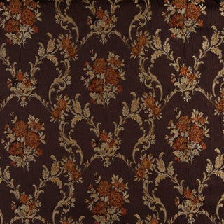 A0014B Brown Gold Persimmon Ivory Floral Brocade Upholstery Fabric