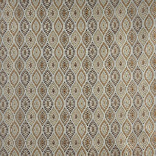 A0015A Blue Gold Brown Ivory Pointed Oval Brocade Upholstery Fabric