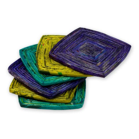 Handmade Set of 6 Recycled Paper 'Tropical Glow' Coasters (Guatemala)
