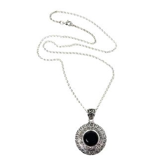 Sterling Silver 'Frangipani Secrets' Onyx Necklace (Indonesia)