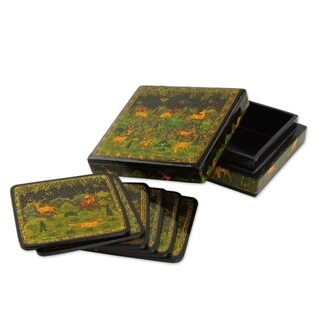 Set of 6 Handcrafted Kail Wood 'Indian Forest' Coasters (India)