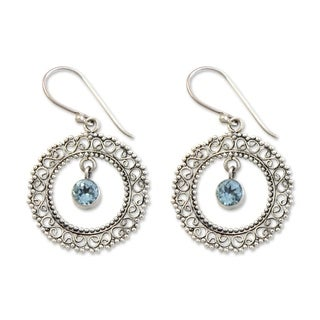 Handcrafted Sterling Silver 'Radiant Halo' Topaz Earrings (Indonesia)