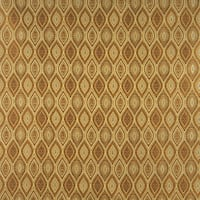 A0015H Gold Brown Ivory Pointed Oval Brocade Upholstery Fabric