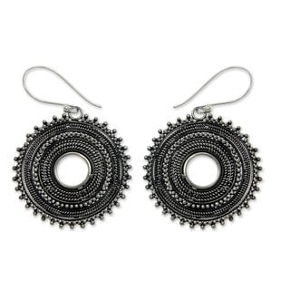 Handcrafted Sterling Silver 'Dazzling Moons' Earrings (Indonesia)