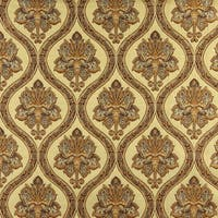 A0016H Gold Brown Ivory Traditional Brocade Upholstery Fabric