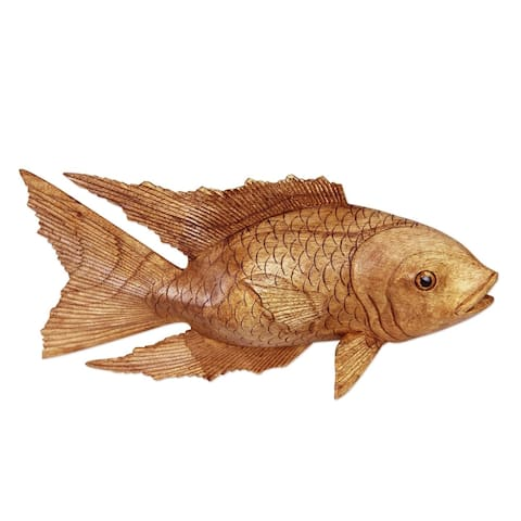 Handmade Suar Wood Goldfish Sculpture (Indonesia)