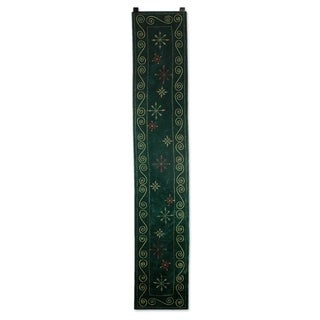 Handmade Embroidered 'Forest Green Wonderland' Table Runner (India)
