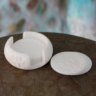 Set of 6 Handcrafted Marble 'Peaceful Blossom' Coaster Set (India)