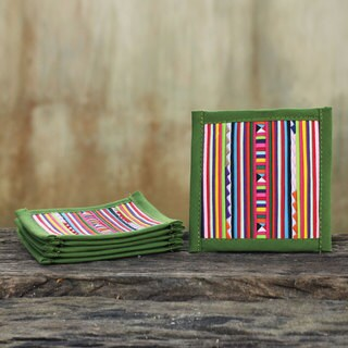 Set of 6 Handcrafted Cotton 'Lahu Olive' Coasters (Thailand)