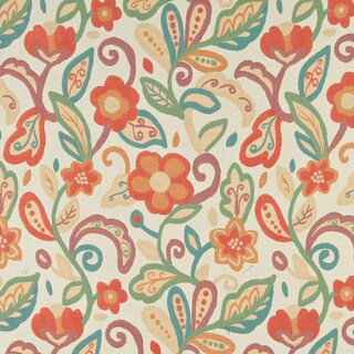 A0023A Teal Green Orange Beige Floral Contemporary Upholstery Fabric
