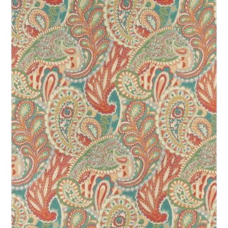 A0024A Teal Green Orange Paisley Contemporary Upholstery Fabric