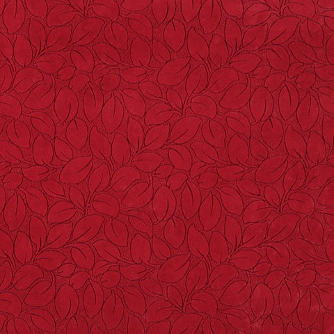 B868 Red/ Foliage Leaves Durable Microfiber Upholstery Fabric