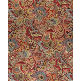 A0025B Green Blue Red Gold Abstract Floral Upholstery Fabric
