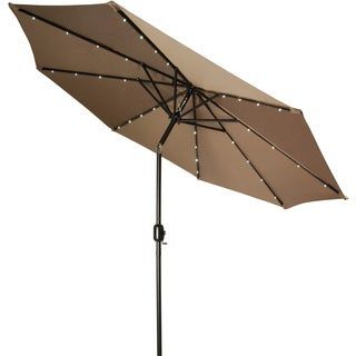 Tan 9 Foot Deluxe Solar Powered LED Lighted Patio Umbrella By Trademark  Innovations