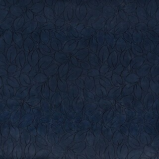 B862 Navy Blue/ Foliage Leaves Microfiber Upholstery Fabric