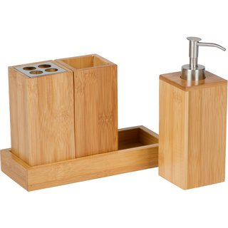 Trademark Innovations Bath Set Natural Bamboo Bath Caddy
