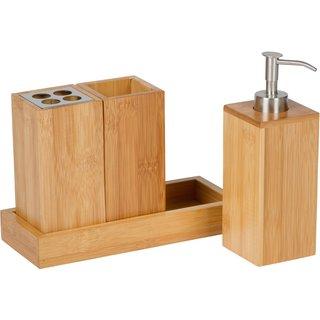 Trademark Innovations Bath Set Natural Bamboo Bath Caddy