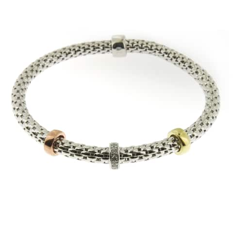Handmade Sterling Silver Gold Plated Stretch Bracelet (Italy)