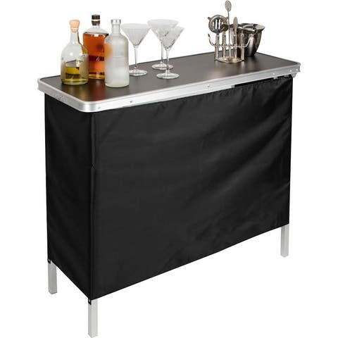 Porch & Den McCormick Portable Bar Table with Skirt