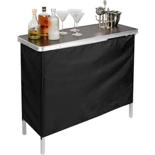 Porch den bar pub tables for less overstock porch den glenwood mccormick portable bar table with 2 skirts watchthetrailerfo
