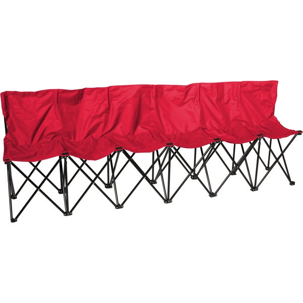 Trademark Innovations Portable 6 Seater with Back Sits 6 People Red Sports Bench