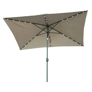 Trademark Innovations Rectangular Solar Powered LED Lighted Patio Umbrella (10' x 6.5')