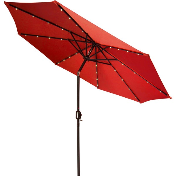 Trademark Innovations Deluxe 9 Foot Solar Powered LED Lighted Red Patio  Umbrella