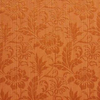 A0100F Orange Two Toned Floral Metallic Sheen Upholstery Fabric