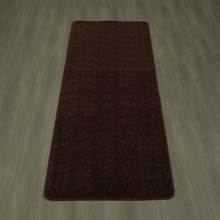 Ottomanson Softy Collection Brown Solid Bathroom Rug