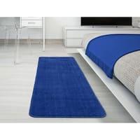 Ottomanson Softy Collection Sax Blue Solid Bathroom Rug (1'8 x 4'11)